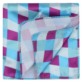 Pink/Blue Seamless Check Pocket Square