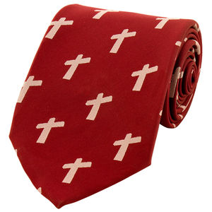 Necktie - Cross Big - Maroon color