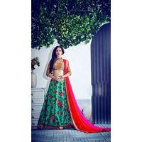 Kyara Bangalori Silk Lehanga - 10001,  cyan