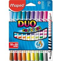 Maped Duo Felt Tip Color Pen, 10 shades (Thick & Thin)