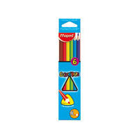 Maped Colour Peps Triangular Shaped Colour Pencils, 6 Shades(Card Board Box)