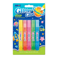 Amos Glitter Glue, Neon 10.5 ML, 5 Pcs (GNE10B5)
