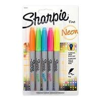 Sharpie Neon Fine Permanent Marker Assorted (Pack of 5) (SAN 1860443)