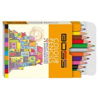 Navneet Boss Colour Pencil Half Size 12 Shades 55008 (Pack of 10)