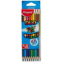 Maped Duo Color Peps Colour Pencil ( 9= 18 shades)
