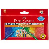Faber-Castell Wax Crayons - 24 Shades, 75mm