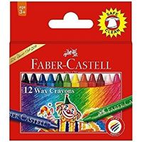 Faber Castell Wax Crayons, 12 Shades(57mm) (Pack Of 10)