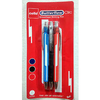 Cello Butter flow-clic ball Pen, Red, Packof 10