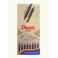 Pentel Japan E- Flow Retractable Ball Pen, Blue-10 Pcs