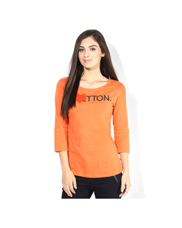 United Colors of Benetton Solid T Shirt, s,  orange