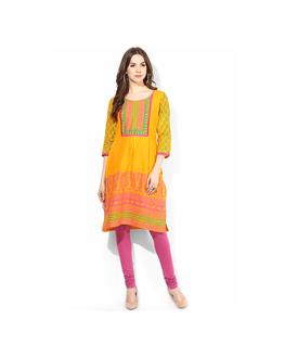 Riya Printed Kurti, m,  yellow