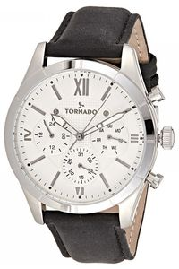 Men's Genuine Leather Band Watch- T8105, silver, silver, black