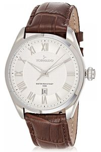 Men's Genuine Leather Band Watch- T8007, silver, silver, brown