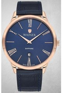 Men's Genuine Leather Band Watch -WA11430, black, rose gold, blue