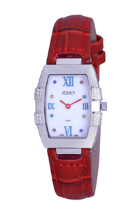 Ecstacy Women's Leather Band Watch E7505-SLRM, red, silver, mop white