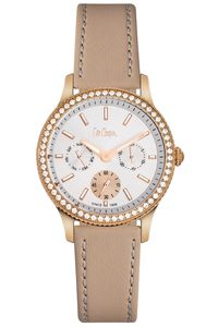Women's Leather Band Watch - LC06172, cream, rose gold, silver