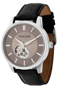 Men's Leather Band Watch - P 14995, grey, silver, black