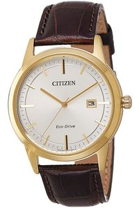Men's Leather Band Watch - AW1233, white, gold, brown