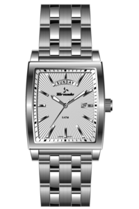 Men's Solid Stainless Steel Band Watch- T7010, silver, white, silver