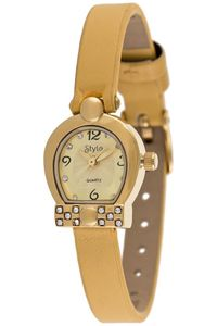Women's Leather Band Watch-S5515, gold, gold, yellow
