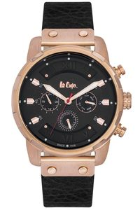 Men's Leather Band Watch - LC06191, black, rose gold, black