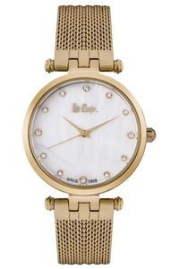 Women's Super Metal Band Watch -LC06604, mop white, gold, gold