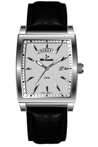 Men's Genuine Leather Band Watch- T7010, black, white, silver