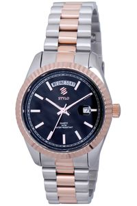 Men's Stainless Steel Band Watch -S7069, black, ip silver/ip rose gold, ip silver/ip rose gold