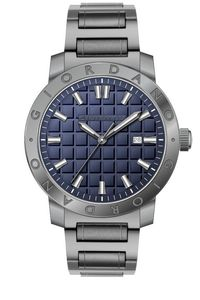 Men's Solid Stainless Steel Band Watch -1706, blue, gun metal, gun