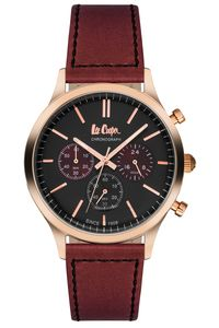 Men's Leather Band Watch - LC06293, maroon, black, rose gold