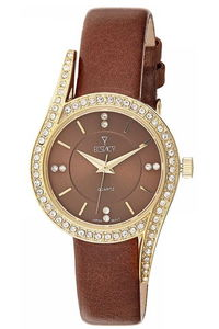 Ecstacy Women's Leather Band Watch E8504-GLDD, brown, gold, brown