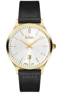 Men's Leather Band Watch - LC06290, silver, gold, black