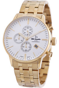Men's Solid Stainless Steel Band Watch- T6102, gold, gold, white
