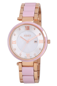 Women's Stainless Steel /Ceramic Band Watch -E7515, rose gold/pink, mop silver, rose gold/pink
