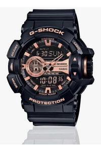 G-shock Men's Resin Band Watch GA-400GB-1A4, black/rose gold, black, black