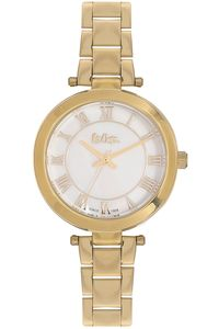Women's Super Metal Band Watch - LC06332, gold, gold, white