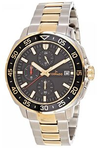 Men's Solid Stainless Steel Band Watch- T8104, silver, black, two tone gold