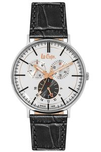 Men's Leather Band Watch - LC06383, blue, rose gold, blue