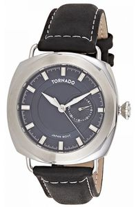 Men's Genuine Leather Band Watch- T8109, blue, blue, silver