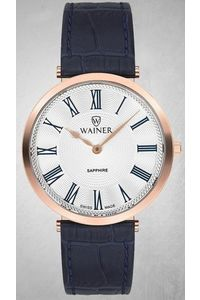 Women's Genuine Leather Band Watch -WA11494, white, rose gold, blue