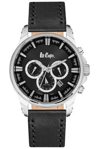 Men's Leather Band Watch -LC06444, black, silver, black