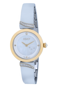 Ecstacy Women's Watch Analog Display- E7521-TBTM, silver, mop white