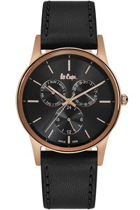 Men's Leather Band Watch -LC06499, black, rose gold, black