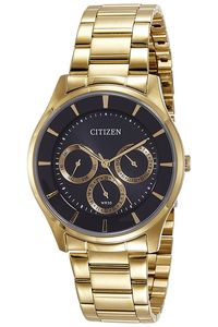 Men's Stainless Steel Band Watch - AG8352, black, gold, gold