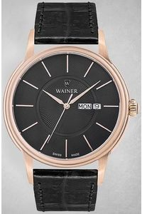 Men's Genuine Leather Band Watch -WA14922, black, rose gold, black