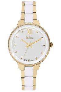 Women's Super Metal Band Watch - LC06465, white, gold, two tone white