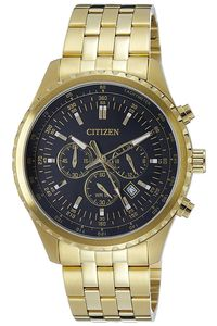 Men's Stainless Steel Band Watch - AN8062, black, gold, gold