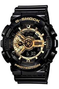 Men's Resin Band Watch -GA-110GB, gold/black, black, black