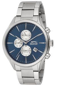 Men's Stainless Steel Band Watch - SL. 9.6065, blue, silver, silver