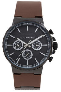 Giordano Men's Watch Multi Function Display- 1825-01, brown, black